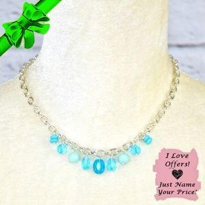 Jewelry - Blue Drop Bead Link Necklace ~0cd40s0sc3j